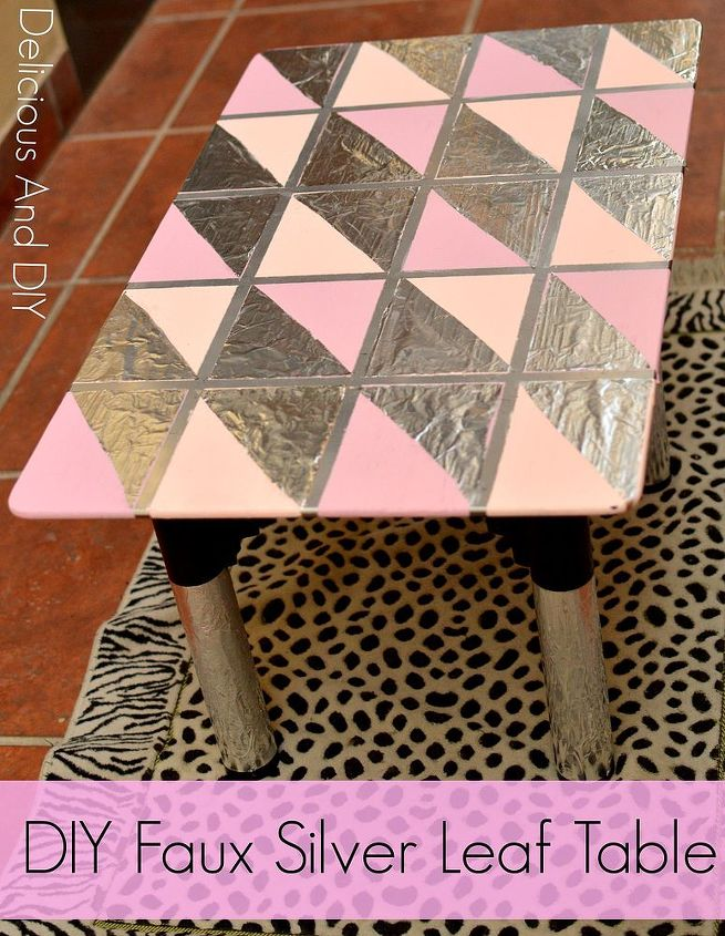 diy faux silver leaf table, diy, home decor, painted furniture