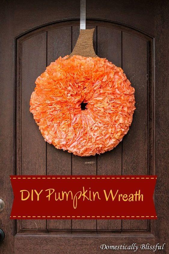 diy pumpkin wreath coffee filters dyed, crafts, repurposing upcycling, seasonal holiday decor, wreaths