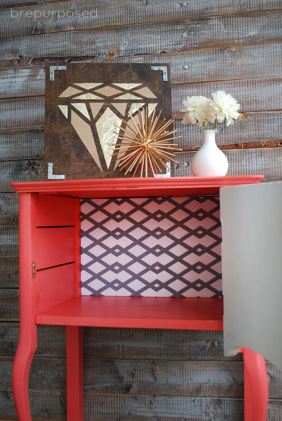 painted furniture coral white funky side table, painted furniture
