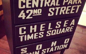 decoupage painted dresser nyc subway maps mid century modern, decoupage, diy, painted furniture