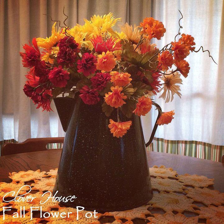 fall flower pot coffee, flowers, home decor, repurposing upcycling
