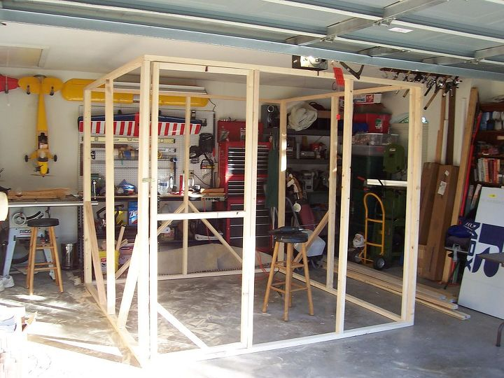 gardening greenhouse build budget winter protection plants, diy, gardening, woodworking projects, Greenhouse Frame Built in Garage