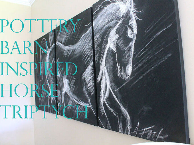 pottery barn inspired horse triptych, crafts, home decor, wall decor