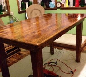 Used Old Maple Table Top And Cedar 4x4 Posts Carved To Look Nice. Both Woods