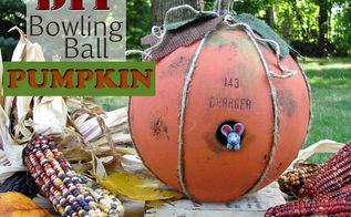 diy bowling ball pumpkin tutorial, crafts, repurposing upcycling, seasonal holiday decor