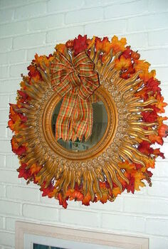 louis xiv star burst mirror made into fall wreath, crafts, seasonal holiday decor, wreaths