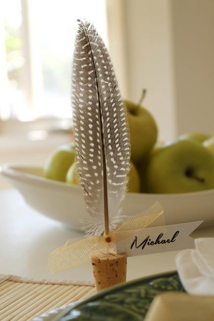 cork feather place cards, crafts, seasonal holiday decor