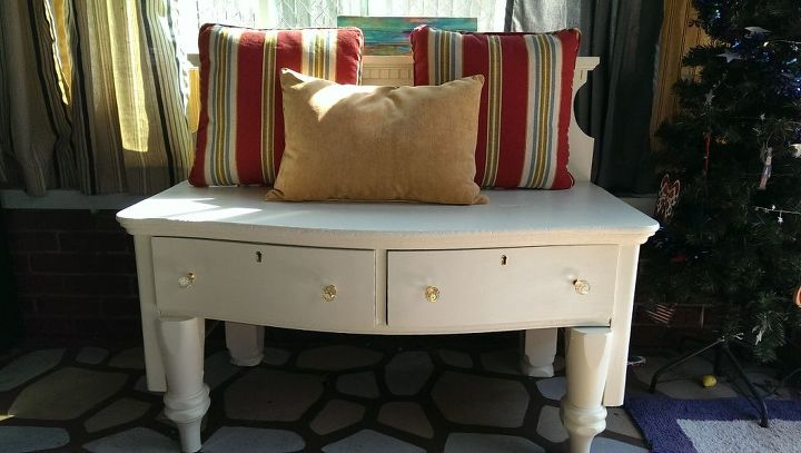 repurposed dresser headboard bench painted furniture, painted furniture