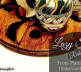 lazy susan redo stained wood stenciled ampersand crafts home decor painting woodworking