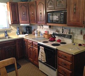 the cabinets are solid wood and very functional although so dark  i plan on filling in the current pulls and installing new hardware  working with almond colored appliances    hometalk  rh   hometalk com