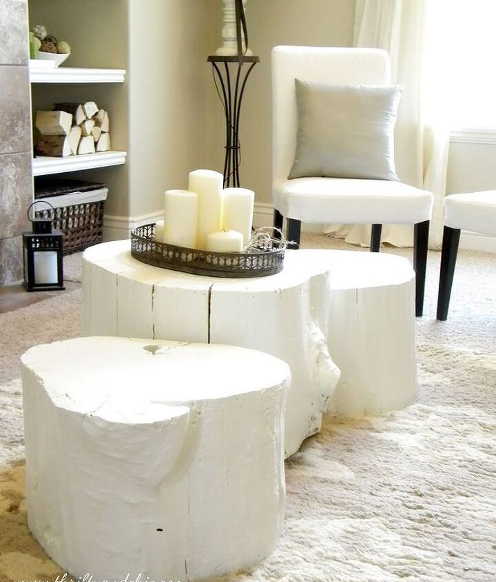 tree stump side table painted makeover, home decor, painted furniture, repurposing upcycling, rustic furniture