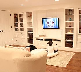 wall of built ins out of ikea hemnes cabinets hometalk rh hometalk com Garage Storage Basement Storage Design
