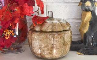 fall decoration glass pumpkin redo cheap, home decor, how to, repurposing upcycling, seasonal holiday decor