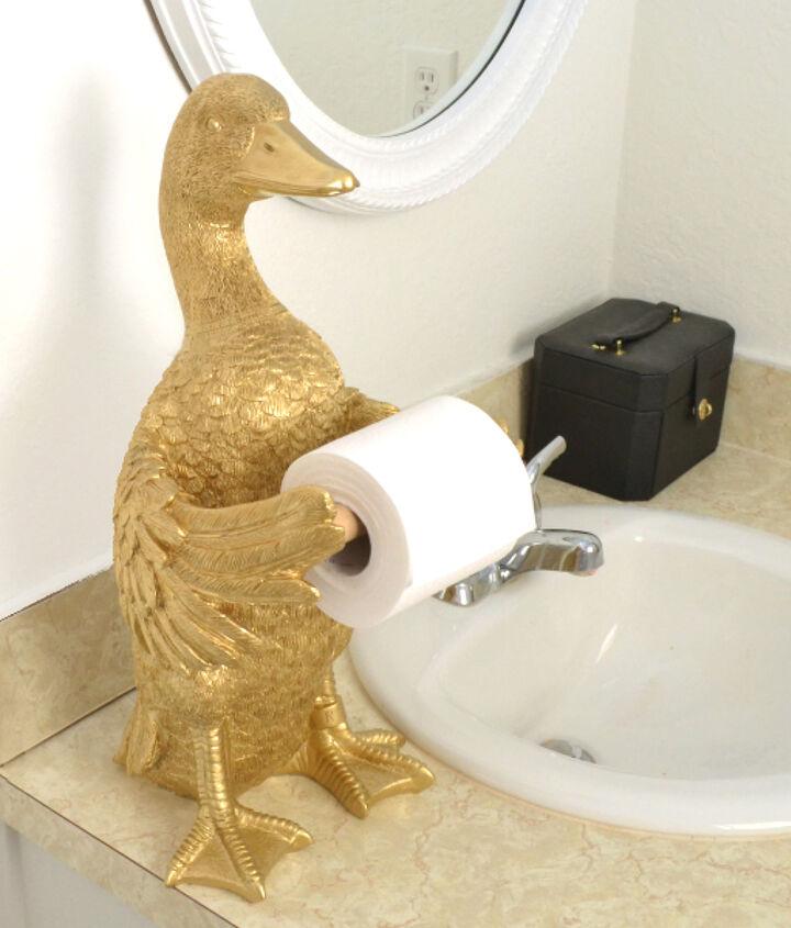 golden goose tp holder, bathroom ideas, home decor, how to