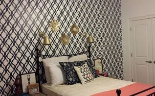 guest room stenciled makeover, bedroom ideas, painting, wall decor