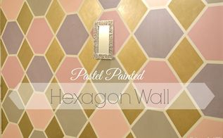 painted hexagon feature wall pastel, bedroom ideas, diy, paint colors, painting, wall decor