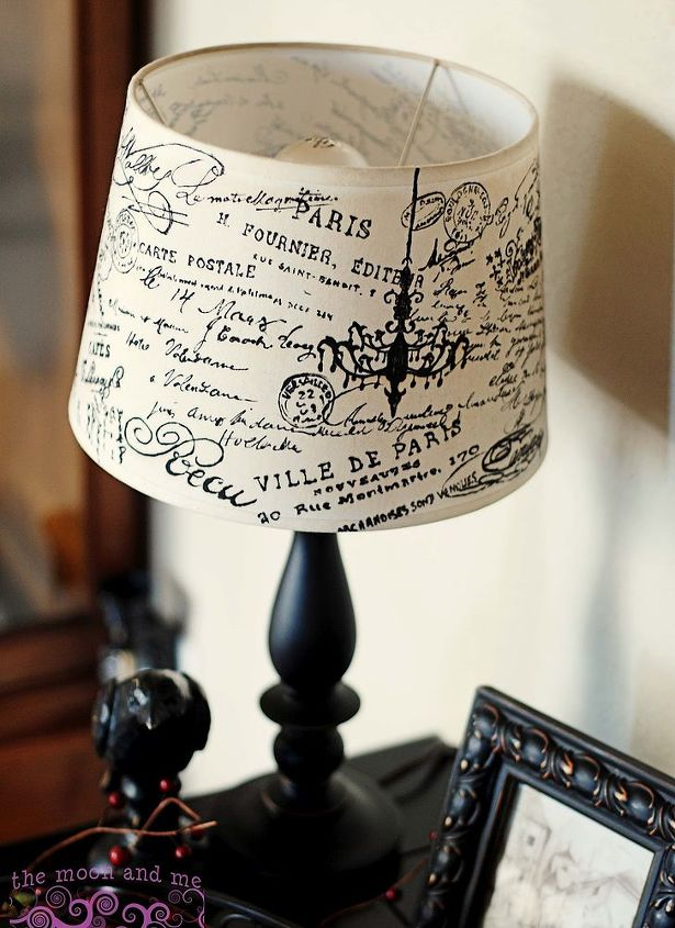 decoupage lamshade french script, decoupage, home decor, lighting