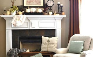 fall decor mantel vintage themed, fireplaces mantels, seasonal holiday decor