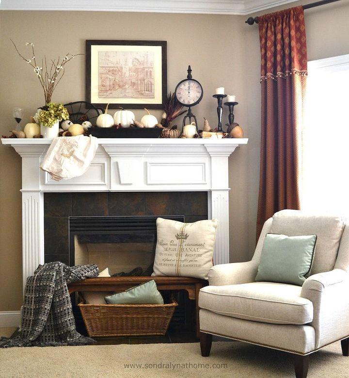 fall decor mantel vintage themed, fireplaces mantels, seasonal holiday decor