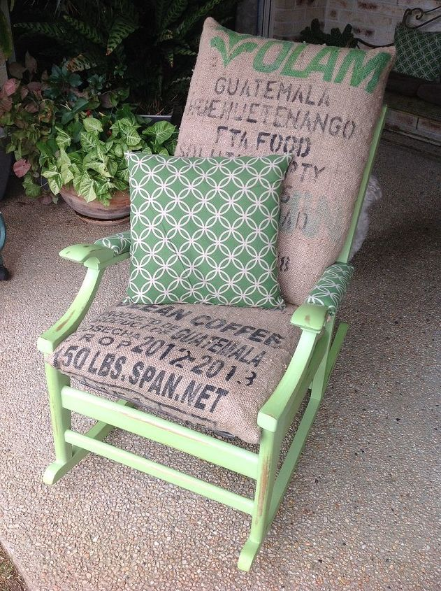 reupholstered old chair coffee bag, repurposing upcycling, reupholster