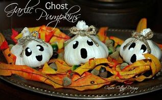 halloween decor craft garlic ghost sweater pumpkin, crafts, halloween decorations, seasonal holiday decor