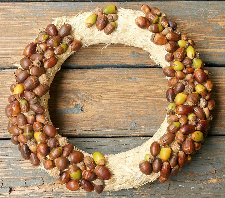 fall decor acorn wreath tutorial, crafts, seasonal holiday decor, wreaths