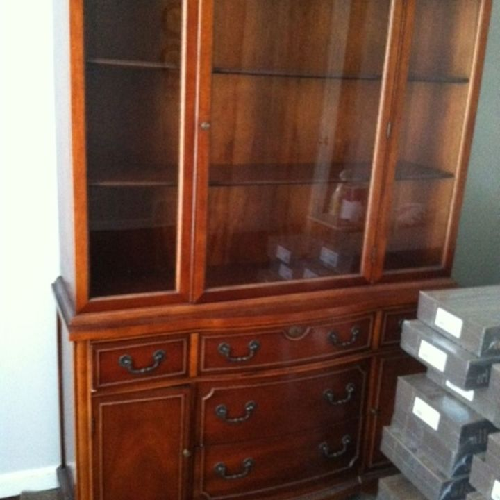 q china cabinet makeover to paint or re stain, kitchen cabinets, painted furniture