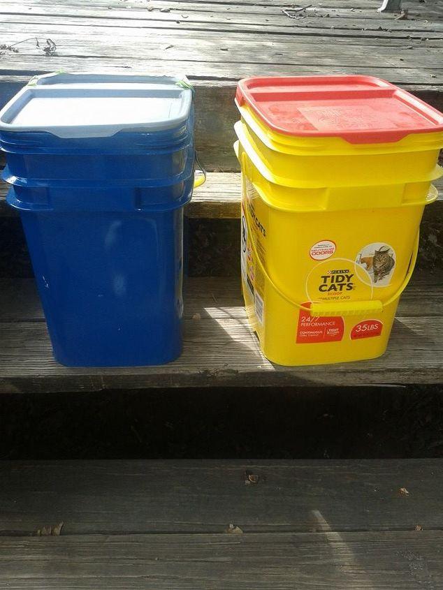 repurposed cat litter container, pets animals, repurposing upcycling