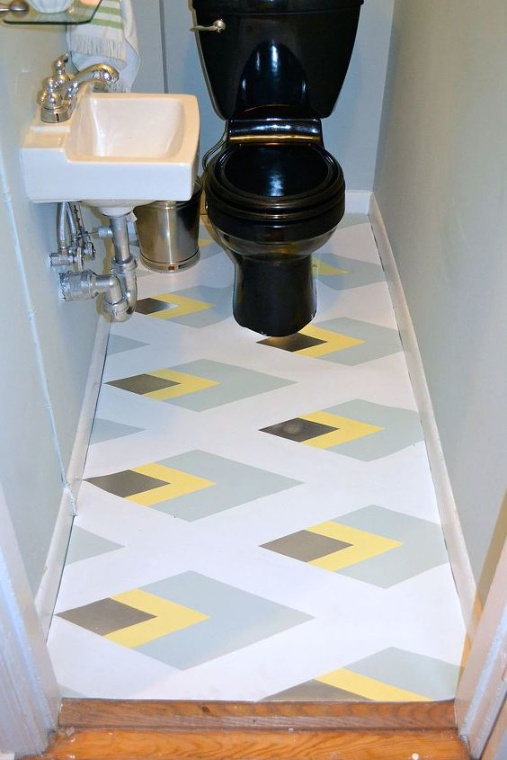 painted linoleum bathroom floor, bathroom ideas, flooring