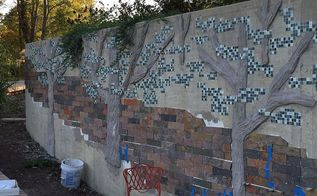 concrete tile mosaic retaining wall, concrete masonry, diy, landscape, outdoor living