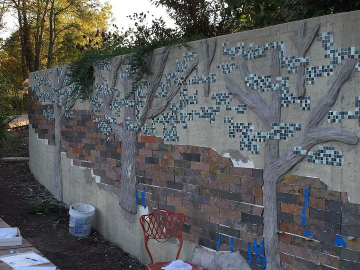 concrete tile mosaic retaining wall, concrete masonry, diy, landscape, outdoor living