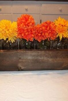 woodworking mason jar fall centerpiece flowers, crafts, seasonal holiday decor, woodworking projects