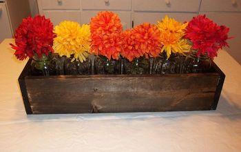 woodworking mason jar fall centerpiece flowers, crafts, seasonal holiday decor, woodworking projects