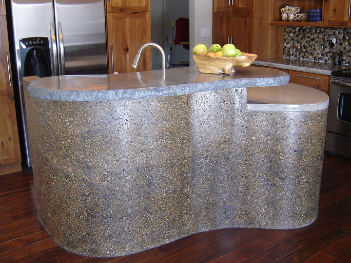 diy concrete kitchen island, concrete masonry, diy, home decor, kitchen island
