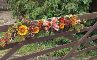 fall decor flowers outdoor farm fence gate, crafts, fences