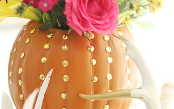 diy faux pumpkin embellished vase, crafts, flowers, halloween decorations, home decor, repurposing upcycling, seasonal holiday decor