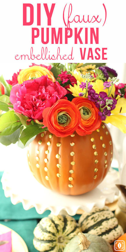 diy faux pumpkin embellished vase, crafts, flowers, halloween decorations, home decor, repurposing upcycling, seasonal holiday decor