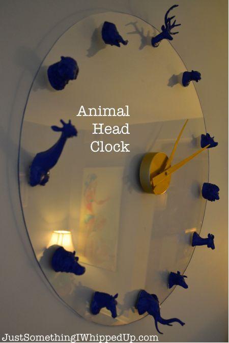 craft wall decor animal head clock, crafts, repurposing upcycling