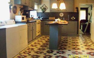 flooring painting stenciling linoleum, diy, flooring, kitchen design, painting