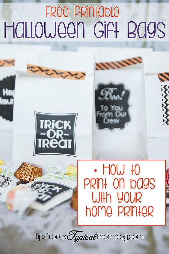 free halloween gift bag printables tutorial on how to print on bags, halloween decorations, seasonal holiday decor