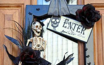 halloween decorations wreath cabinet door repurpose, crafts, halloween decorations, seasonal holiday decor