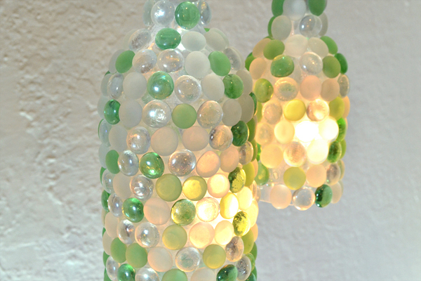 Glass pebble wine bottle pendant lamps hometalk for Glass bottles with lights in them