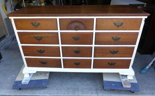 classy white and cherry dresser, chalk paint, painted furniture
