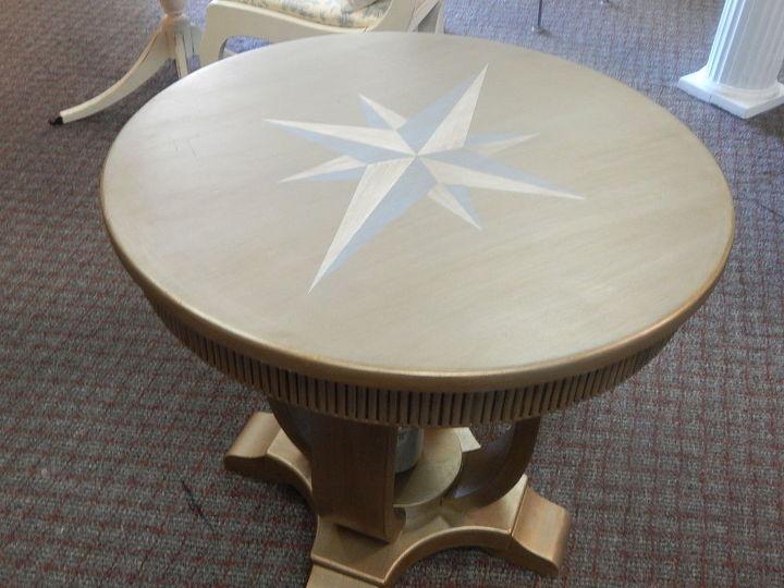 metallic nautical star tables, home decor, painted furniture