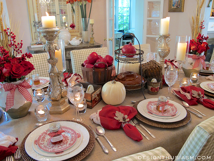 Tablescape Fall Apples Red Country Theme Crafts Dining Room Ideas Flowers Home