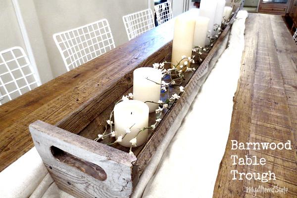 Diy barnwood table fall centerpiece trough hometalk