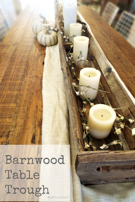 woodworking table centerpiece fall decor trough, crafts, diy, home decor, rustic furniture, thanksgiving decorations