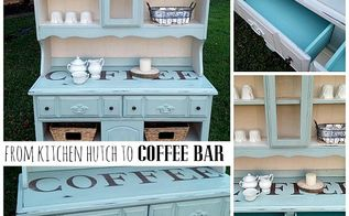 painted furniture stenciled china hutch coffee station, painted furniture