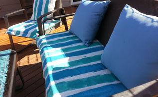 drop sheet patio furniture makeover, outdoor furniture, outdoor living, painted furniture