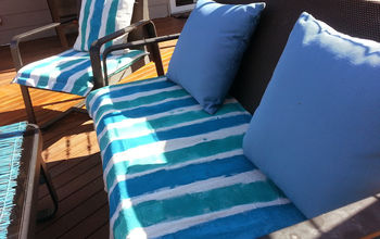 drop sheet patio furniture makeover, outdoor furniture, outdoor living, painted furniture